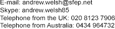 Andrew Welsh contact details