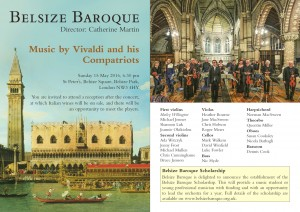 Belsize Baroque 15 May 2016 programme notes