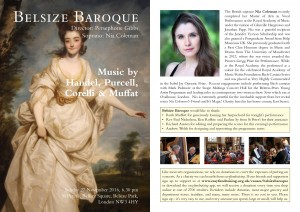 Belsize Baroque 27 November 2016 Programme Notes