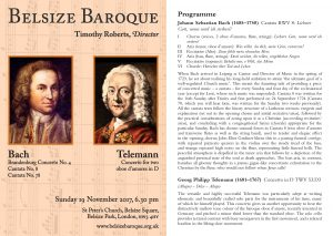 Belsize Baroque 19 November 2017 programme notes